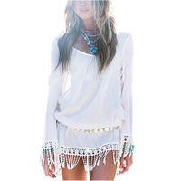 Wholesale Short Sleeve Tassel Dress - 2017 New Summer Style Women Dress O Neck Lace Tassel Chiffon Beach Mini Dress Casual White Short Par
