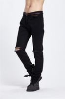 Wholesale Cheap Skinny Legs Jeans - 2016 Cheap Ripped Knee Denim Jean Black Skinny Biker Jeans For Man Justin Bieber Sytle Jeans Leg Opeing Zip Detail