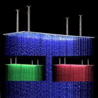 Wholesale Luxury Shower Accessories - Luxury bathroom LED Shower Head Accessories Brushed SUS304 400*800mm Big Rain Rectangular LED Ceiling Overhead shower