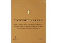 Wholesale Gold Key Necklaces For Women - Dogeared choker Necklaces With card Gold Silver Key Pendant Necklace For Fashion women Jewelry CONFIDENCE IS KEY
