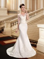 Wholesale Exquiste Wedding Dress - Graceful Wedding Dresses Mermaid Bridal Gowns 2016 Scoop Neck Exquiste Beaded Embroidered Half Sleeves Vestidos De Noiva free shipping