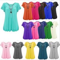 Wholesale T Shirt Fashion Necklaces - T-Shirt Women Ruffles Necklace Shirts Lady V Neck Fashion Tops Casual Blouse Short Sleeve Tees European Shirt Blusas Women's Clothing B2782