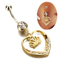 Wholesale Belly Ring Charms - 10pcs Hot Sale Crown Charm Rhinestone Body Piercing Jewelry heart gold Belly Button Ring Navel Jewelry Drop Shipping