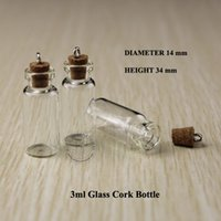 Wholesale Vintage Clear Glass Bottle - 20pcs 3ml Wood Cork Glass Vial Mini Clear Decorative Bottle Small Wishing Bottle Vintage Glassware With Metal Ring