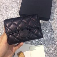 Wholesale Mini Quilted Purses - 2017 Women's Fashion Card Holders Genuine Leather Lambskin Quilted Flap Mini Wallets Female Purses Card Holder Coin Pouch wiht box