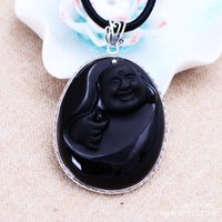 Wholesale Silver Jade Buddha Pendants - Jimei silver jewelry wholesale 925 sterling silver jewelry silver retro Obsidian Buddha Pendant Jewelry Maitreya female bag mail