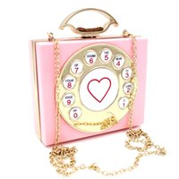 Wholesale European Style Telephones - Personality Telephone Shape Flap Evening Bag Purses Transparent Acrylic Crystal Party Clutch Bags Chain Messenger Bags Hasp Prom Bags