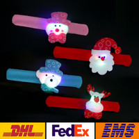 Wholesale pats lighting - LED Christmas Gift Pat Circle Bracelet Xmas Santa Claus Snowman Toy Wristband Bracelets Christmas Tree Decoration Ornament WX-C14