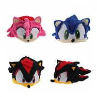 Wholesale kids plush beanie cap - New Style Sonic The Hedgehog Fleece Cosplay Cap Anime Beanie Plush Stuffed Hat Costume For Kids Christmas Gift MK199