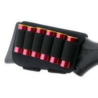 Wholesale hunting ammo - Tactical Shotgun Rifle 6 Shells Buttstock Shell 12 20 Gauge Cartridge Holder Elastic Loops Airsoft Ammo Holder Black