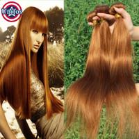 Wholesale Coloured Brazilian Hair Weave - Brazilian Virgin Hair Straight Auburn Human Hair Weave Bundles 4pcs lot Light Auburn Colour 30# 100g Unifos Hair Extensions 12-24 inches
