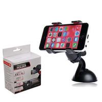 ingrosso supporto per tablet gps-Universale Dual clip parabrezza girevole da 360 gradi supporto per auto staffa supporto per iPhone 6 plus tablet Samsung GPS (112)