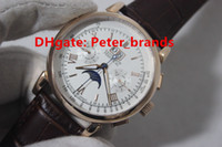 Wholesale Perpetual Moon - High grade quality glashutte men's automatic wristwatches DATOGRAPH PERPETUAL rose gold case brown leather see-through back brand watches
