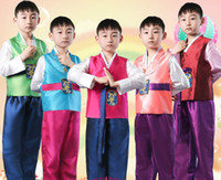 Wholesale Ethnic Wear Clothing - Boy Korean Costumes Wear Korean Traditional Clothes Korea Dance Ethnic Clothing Boys Hanbok Costume Stage Costumes