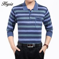 Wholesale Cheap Striped Sweaters - Wholesale-Autumn Casual Turn-down Collar Striped Pullover Men Wool Sweaters With Real Pocket Plus Size Father's Shirt Cheap Clothing