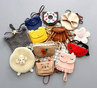 Wholesale Cute Cat Style - INS Multi styles cute Girls cartoon shoulder bag fox cat bowknot tassles watermelon Donut chic mini satchel for baby children approx 11*13cm