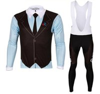 Wholesale Cycling Pants Jersey Set - 2016 New Gentleman Long Sleeve Cycling Jersey Autumn  Spring Cycling Jersey Long Pants Set Breathable Lycra Gel Pad