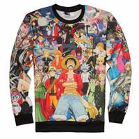 Wholesale Women One Piece Clothing - Fashion Mens 3d Anime Long Sleeve One Piece Sweatshirts Unisex Women Men Cartoon Casual Sweatshirts Harajuku Clothing