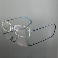 Wholesale Titanium Rimless Glasses Wholesale - Wholesale-Classic Mens Pure Titanium Rimless Glasses Frames Myopia Optical Frame Ultra-light Titanium Business Frameless Eyeglasses Frame