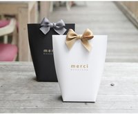 Wholesale Black Decorative Gift Boxes - MERCI BEAUCOUP white black gift paper candy favor boxes High Quality Gift box Chocolate Box Biscuit Pastry Box wen4472