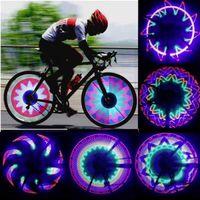Wholesale 32 Led Bike Wheel Lights - 32 LED Wheel Signal Lights Colorful Rainbow Riding Bikes Bicycles Cycling Fixed on Cycle Spoke Light Tire Flash Lighting