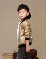 Wholesale Suits Blazer Outerwear Coats - 2016 Autumn Boys kids style faux leather blazers casual shiny bomber jacket PU coat boys little suits brand children outerwear