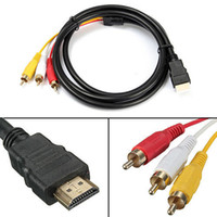 Wholesale Hdmi Rca Component - 1.5M HDMI Male to 3 RCA Video Audio Converter Component AV Adapter Cable Free Shipping
