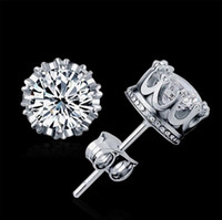 Wholesale Swarovski Crystal Sterling - Austrian Crystal 925 sterling Silver plating 30% White GOLD Crown Wedding Stud Earring Swarovski Elements Engagement Jewelry Free Shipping
