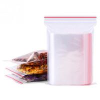 chaîne de fermeture à glissière en plastique achat en gros de-100pcs clair rescellable auto-scellant fermeture à glissière ziplock emballage en plastique clip refermable chaîne épicerie petits sacs