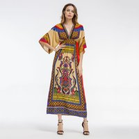 Wholesale Loose Dress Styles - Fashion Boho Style Summer Women Beach Dresses V-Neck High Waist Floral Print Loose Female Maxi Dress Batwing Sleeve Robe N2E225