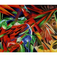 pinturas a óleo animais abstratos venda por atacado-Pinturas a óleo handmade por Franz Marc Fate dos animais arte abstrata moderna decoração de parede de alta qualidade