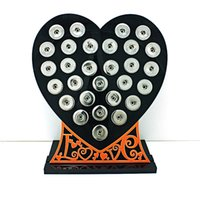 Wholesale 18mm Letters - Brand New 18mm Snap Button Display Stands Fashion Black Acrylic Heart With Letter Interchangeable Jewelry Display Board
