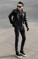 Wholesale Motorcycle Leather Garments - Han edition design brand fashion trend in the new spring and summer men's motorcycle leather garment leather jacket with stripes