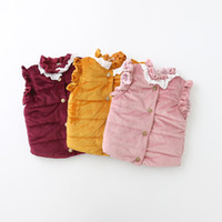 Wholesale Lace Bow Girls Coats - Everweekend Kids Girls Korean Baby Wintre Cotton Vest Outwears Children Girls Lace Collar Buttons Coats Back Bow Jackets