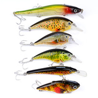 6Pcs / Lot Fishing Lure Traitement de pêche de qualité supérieure exporté vers le Japon 6Color Fishing Bait Minnow Lures 3Px Origng Hook pour poisson