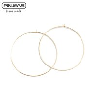 Wholesale thin copper wire - Wholesale- PINJEAS Gold silver Hoops Earrings handmade Big Wire Simple fashion basketball Large Thin For Women