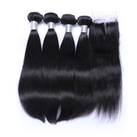 Wholesale Dhl Hair Peruvian - 7A Straight Hair Weft with 4x4 Lace Closure Brazilian Indian Malaysian Peruvian Unprocessed Human Hair Natural Color DHl Free Shipping