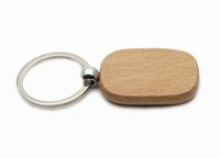 Wholesale cars keychains free shipping online - Rectangular Wooden Key Ring Blank Wood keychain Can be Personalised Laser Engraved With Any Message KW01CH