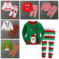 Wholesale Girls Striped Pyjamas - fall 2017 christmas pajamas for kids pijama sets boys pajamas girls pjs sleepwear baby pyjamas santa nightgown striped pijama suit wholesale