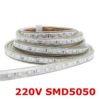 Wholesale blue smd strip 1m resale online - Edison2011 SMD AC220V LED Strip Flexible Light leds m Waterproof Led Tape LED Light with Power Plug M M M M M