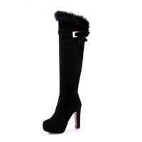 Wholesale Grinding Manufacturers - Grind arenaceous villi knee-high boots Ladies boots he favorite of the most popular Europe and the United States Manufacturers selling Quali
