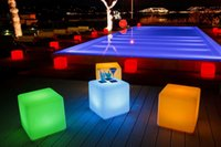Wholesale Led Furniture For Bars - 4pcs lot 30CM led illuminated Furniture Magic Dice waterproof LED Remote control square cube barstools lumineux light for home bar wedding