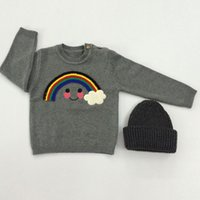 Wholesale Sweaters For Winter Kids - Kids Sweaters for Baby Girls Spring Autumn Outerwear Knit Sweater with Rainbow Cloud INS Popular Children Pullover Long Sleeve Coat Gray