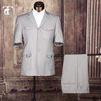 Wholesale Men Suit Garment - Wholesale-2016 Summer Short Sleeve Blazer Masculine Office Uniform Design Garment Factory Fancy Suits For Men Apparel Safari Suit