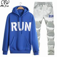 Wholesale Fur Lined Sweatshirts - Wholesale-Winter Tracksuits Hooded Male thick Hoodies Men Sport Suits Fur Lining Jacket jogging Pants and Sweatshirt Set hoodie mens