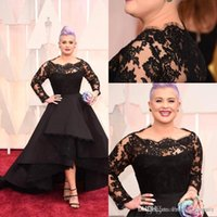 Wholesale Lace Scallop Bateau Dress - Black Hot Oscar Kelly Osbourne Celebrity Dress Long Sleeved Lace Scallop Black High Low Red Carpet Sheer Prom Dresses Black Ball Gown