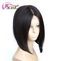 Wholesale Middle Part Lace Remy Wig - xblhair short women human hair wig virgin silky straight human hair wig 10 inch middle part wig