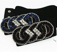 Wholesale Cummerbunds Beads - Fashion female cintos femininos handmade crystal beads buckle wide elastic belt cummerbund for woamn body feminin