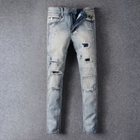 Wholesale Cheap Plaid Pants For Men - High Quality 2016 Trendy Ripped Biker Jeans Destroyed Skinny Denim Jean For Men Light Blue Cheap Price Wholesale Free Shipping