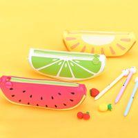 Wholesale Watermelon Pen Case - DHL& SF_EXPRESS Big Volume Watermelon School Kids Pen Pencil Bag Case Gift Pendant Cosmetics Purse Wallet Holder Pouch School Supplies